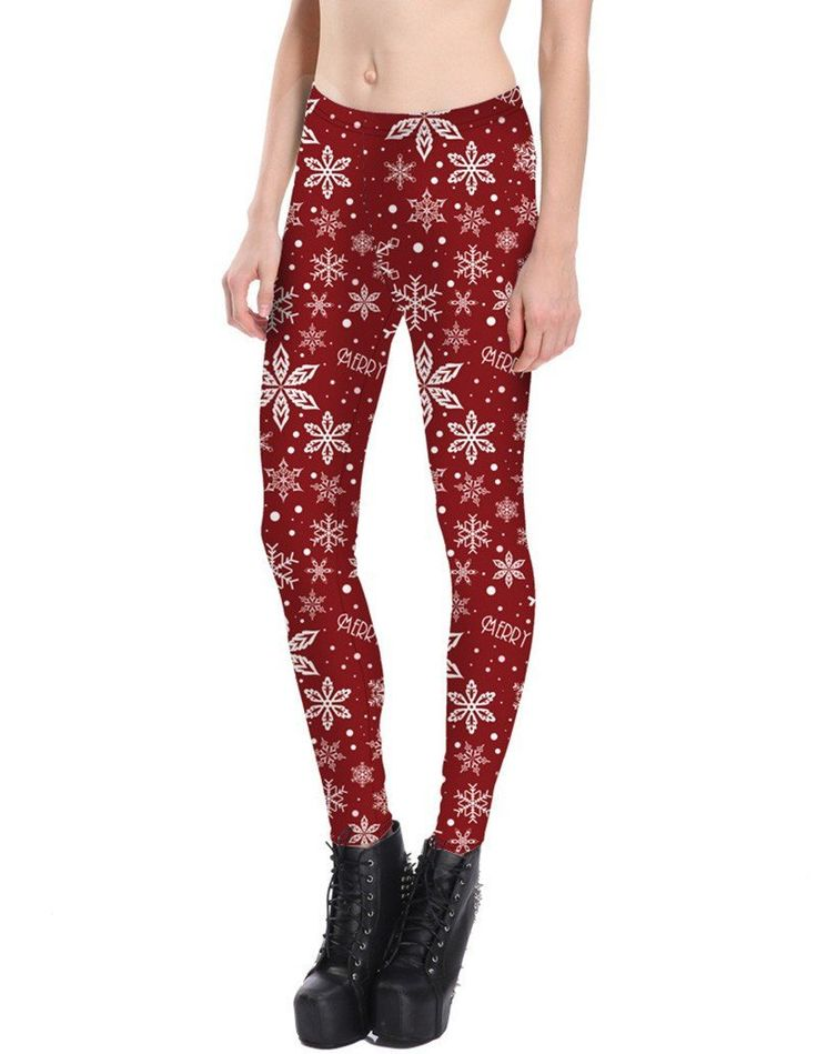 Unique Design Snowflake Print Womens Red Christmas Tights Leggings