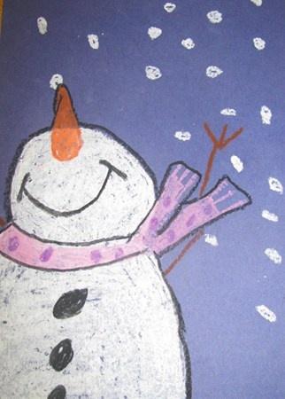 Chalk or oil pastels. Read snowmen at night.   Artsonia Art Museum :: Artwork by Lilyanna20; grade 1