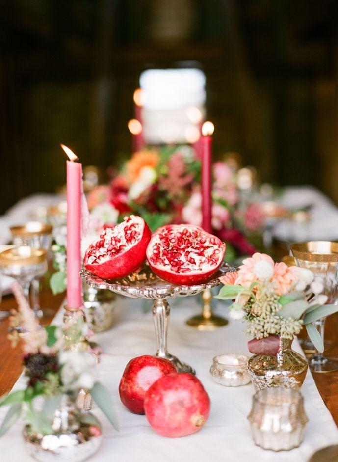 Jodi Miller Photography   Virginia Wedding Photography & Destination Wedding Photography, pomegranate centerpieces, pretty food