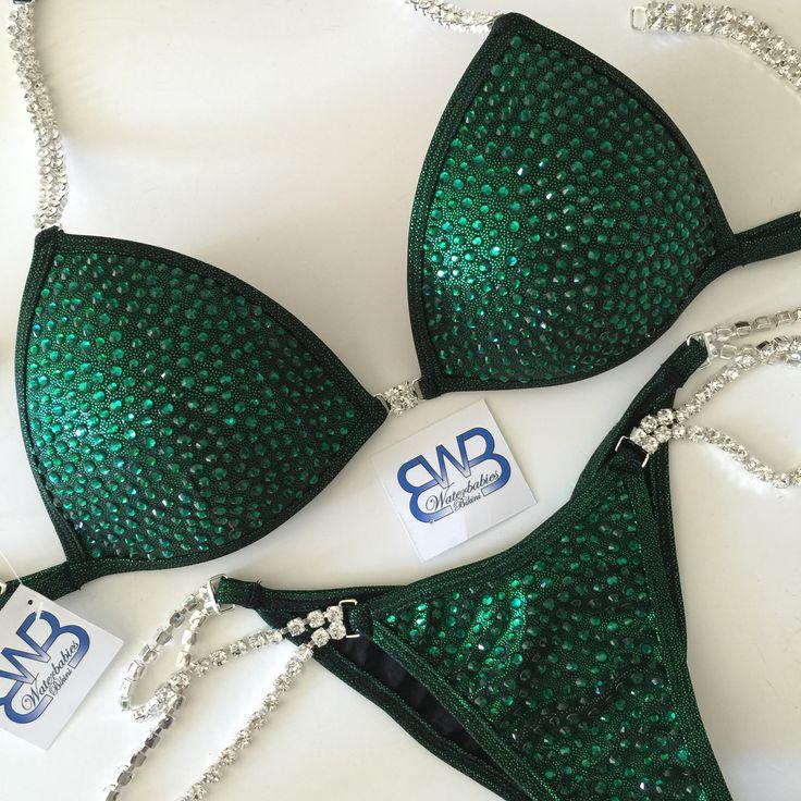 Custom bikini deep mystic green black with Emerald crystals. Waterbabiesbikini.com