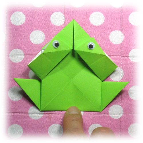 How to make a traditional origami jumping frog (http://www.origami-make.org/origami-frog-jumping-traditional.php)