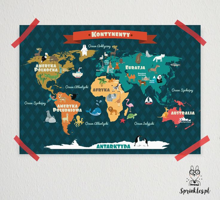 Poster for kids. World Map.