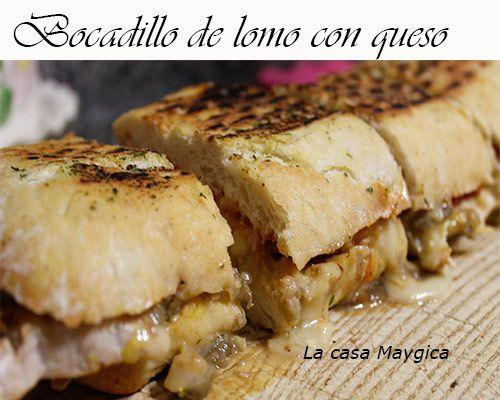 bocadillo de lomo con pimientos y queso brie francés a la plancha