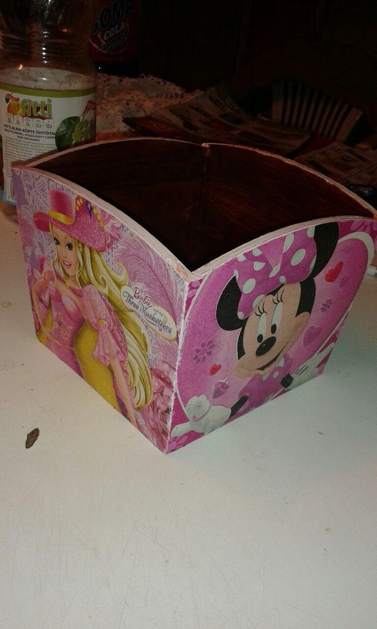 Decoupage storage box for girls