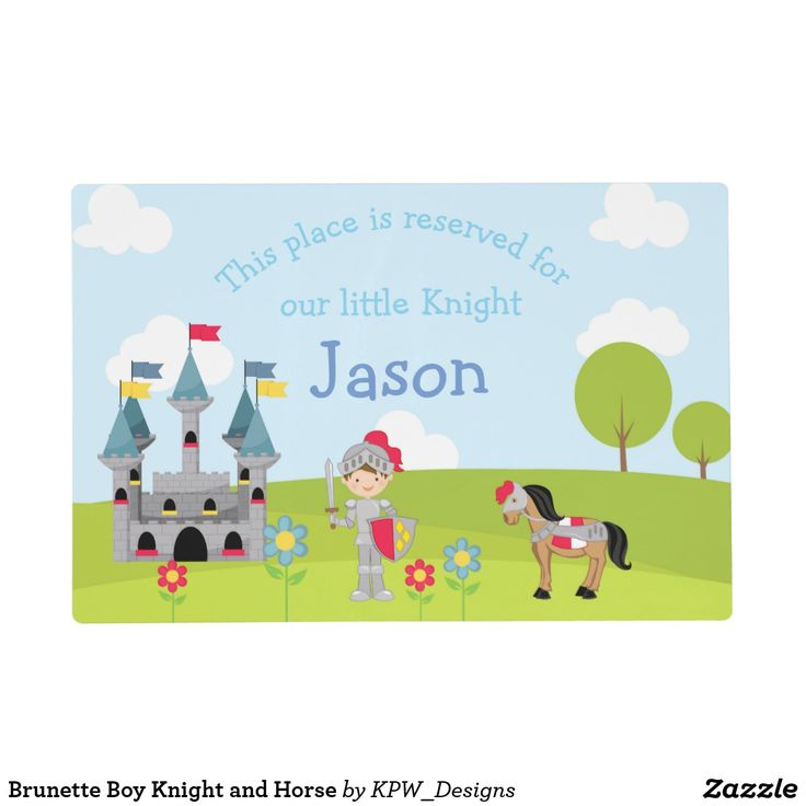 Brunette Boy Knight and Horse Placemat
