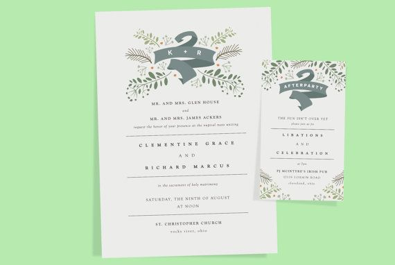 This printable, botanical wedding invitation set is completely customizable and includes the invitation, RSVP card, and an additional flat card (after