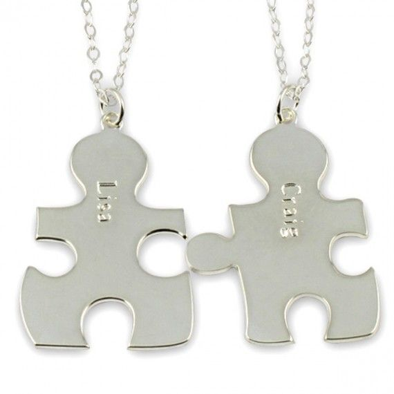 Personalized Puzzle Piece Necklaces in Silver.