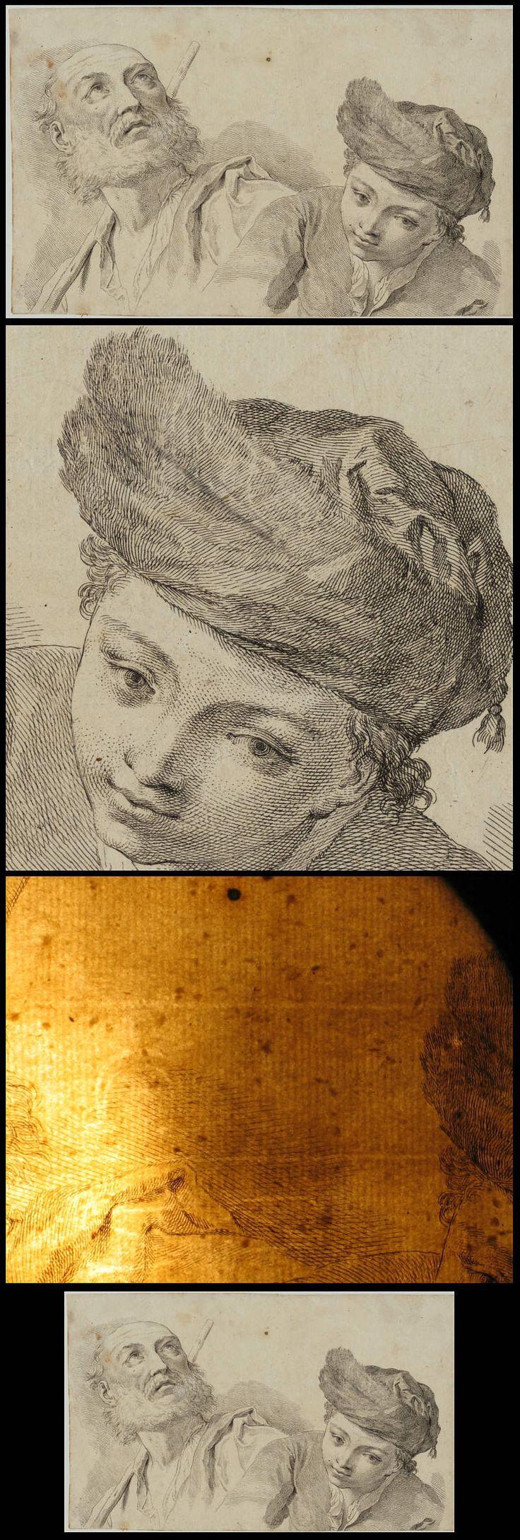 MANN + JUNGE Original Kupferstich um 1770 KUNST Akademie Studie zeichnen 28 cm x 17 cm