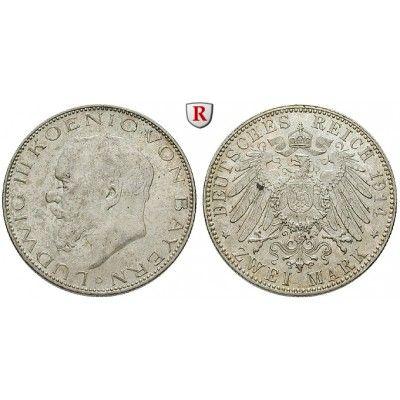 Deutsches Kaiserreich, Bayern, Ludwig III., 3 Mark 1914, D, vz/vz-st, J. 52: Ludwig III. 1913-1918. 3 Mark 1914 D. J. 52; vorzüglich… #coins