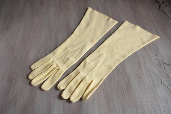 Long Yellow Gloves - Size 7 Vintage Gloves - 1950s gloves - Pale Yellow - Double Woven Cotton - Made in Italy by YournNonce