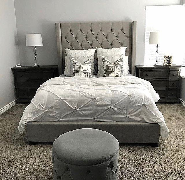Westerly Upholstered Bed In Gray Eastern King Bedroom Furniture Bed Furniture