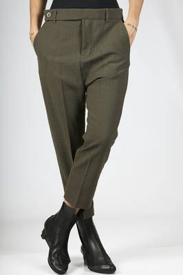 Rick Owens | ankle-length man trousers in wool and polyester seersucker | #rickowens