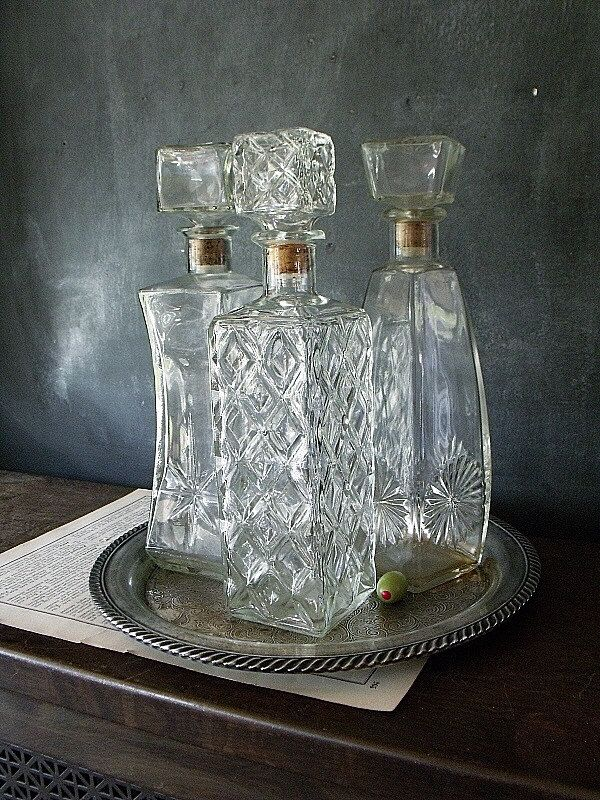 vintage decanters- just random shapes, sizes, patterns... all kinds can be found at thrift stores and places like crate and barrel, etc