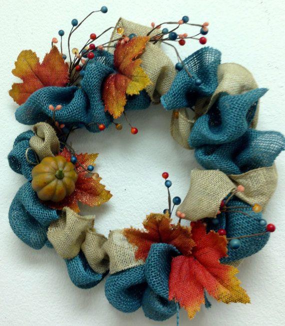 Fall wreath  Teal Natural and Orange burlap by AdellesAvenue, $38.50