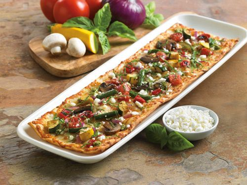 Roasted Vegetable and Goat Cheese Flatbread Appetizer Pizza - Roasted ...