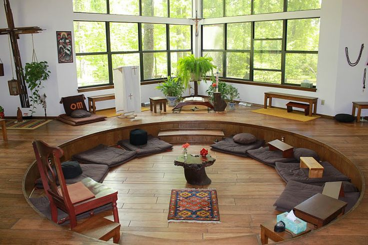 This the chapel/meditation space at the Forest of Peace