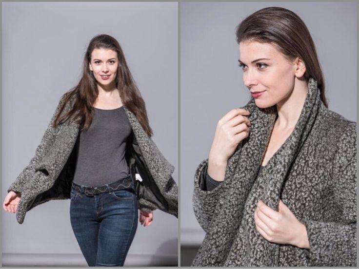 grey fluffy coat