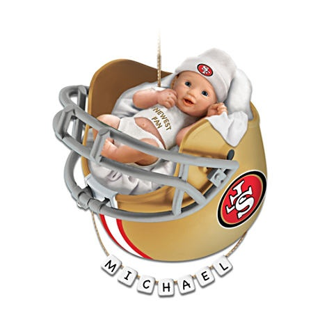 """Personalized """"49ers Fan"""" Baby's First Christmas Ornament"""