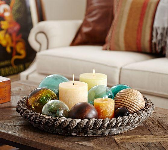 Georgina Small Round Tray | Pottery Barn Idea: Use Mamau0027s Blue Glass Gazing  Balls And · Round TrayCenterpiece IdeasCenterpieces For Coffee TableTrays  ...