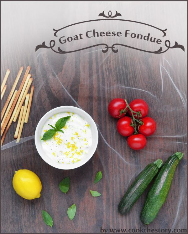 Romantic Dinner Tip #1: Interact with the food, interact with each other - cut vegetables for dipping at the table, serve dips and fondues and anything else that gets your hands moving and helps jumpstart conversation as you eat, like this Warm Goat Cheese Dip with Basil and Lemon by www.cookthestory.com