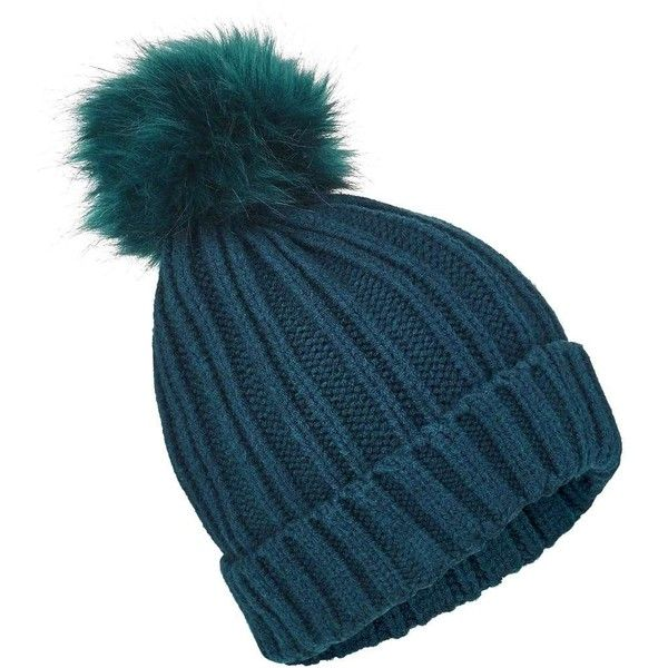 Miss Selfridge Teal Faux Fur Pom Pom Beanie Hat ($12) ❤ liked on Polyvore featuring accessories, hats, beanies, teal, beanie cap hat, beanie hat, miss selfridge, beanie caps and faux fur pom pom hats