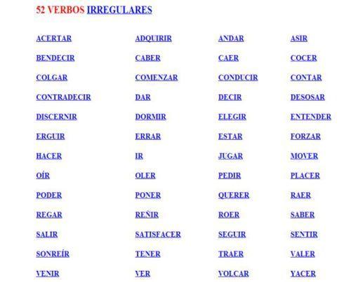 52 VERBOS IRREGULARES