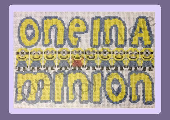 Our one in a minion cross stitch pattern is fun to stitch up and perfect to then hang in your home or give as a gift to a loved one. The One