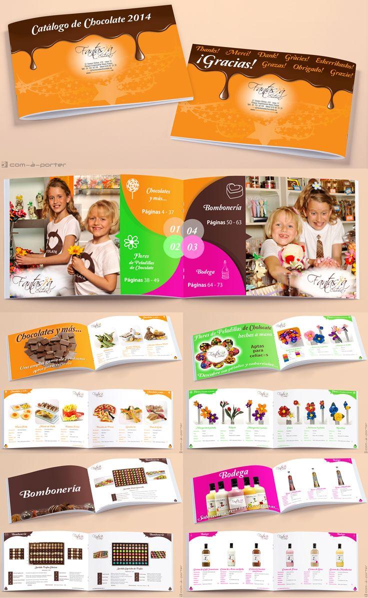 Maquetación de Catálogo de Productos de Fantasía de Chocolate