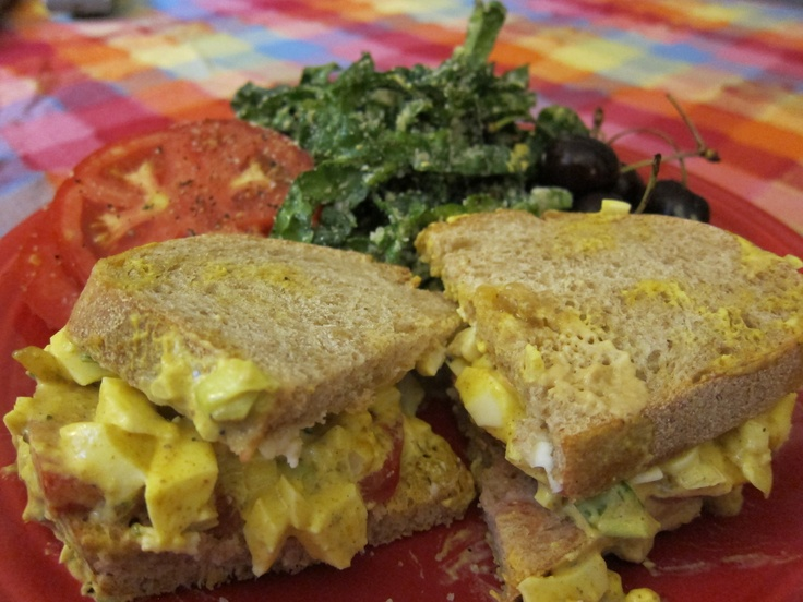 Curried Egg Salad (with Mango Chutney) on Sourdough with Raw Kale ...