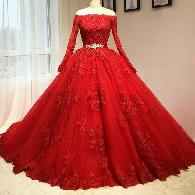 Red Prom Dress, Ball Gown Prom Dress, Long Sleevev Red Wedding Dress, Real Delicate Red Ball Gown Quinceanera Dresses, Prom Dress,Long