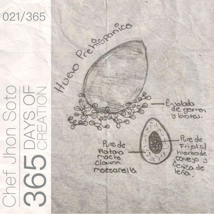 """[ 021/365 ] #creativethinkingchallenge  Huevo Prehispánico  - Ensalada de Germen y Brotes  - Puré de Plátano Macho con Queso Mozzarella - Puré de Frijol c/Hierva de Conejo y Ceniza de Leña  Inspirado en la receta de """"Piedras Prehispánicas"""", aquí quise respetar la preparación y la técnica aportando un poco de sabor extra y un cambio al comer."""