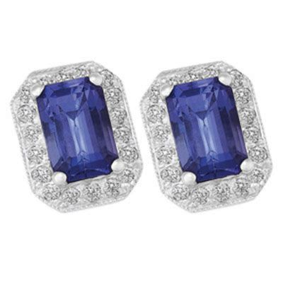 TANZANITE & DIAMOND HALO EARRINGS, Temelli Jewellery