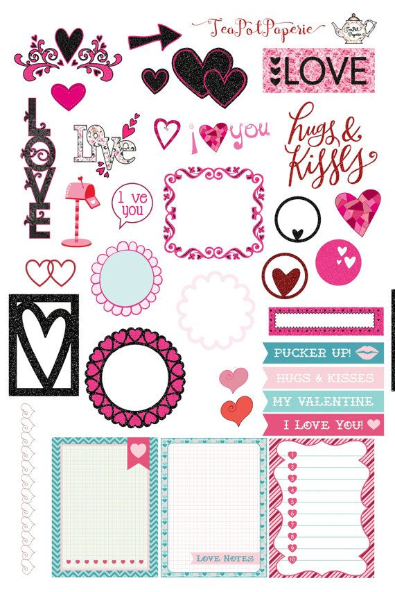 Icon Sheet Valentine's Day/February love planner stickers