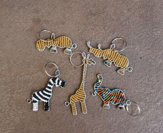 Beaded key ring  Animal key rings  Key holder  von KennaInAfrica, $26.00