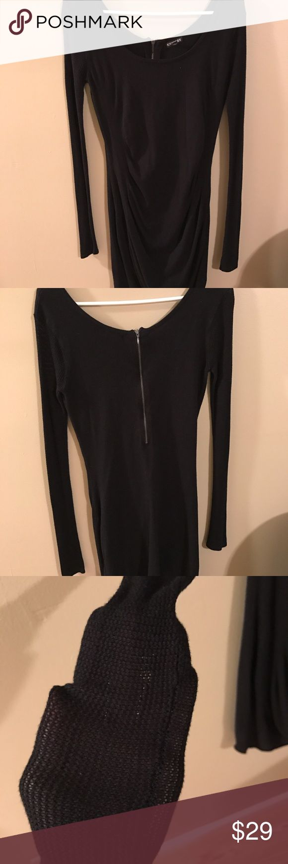Black Express dress Cute dress worn twice. The sleeves are mesh. Can be dressed up or down. Express Dresses Midi