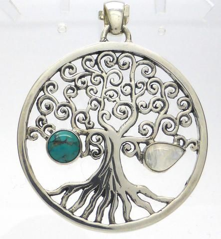 Tree Pendant | Heavy 925 Silver | Authentic Turquoise & Moonstone | Crystal Heart Melbourne Australia since 1986