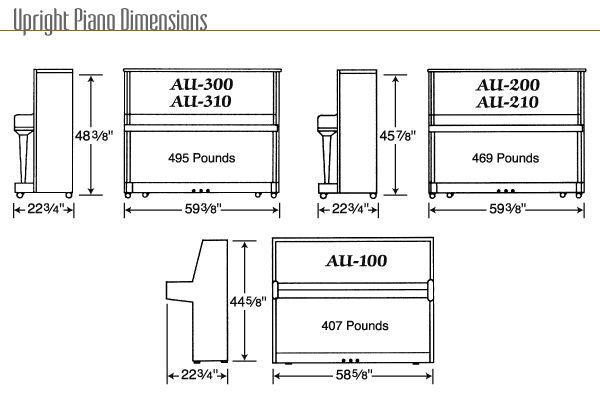 Dimensions of standard upright piano european style for Small upright piano dimensions