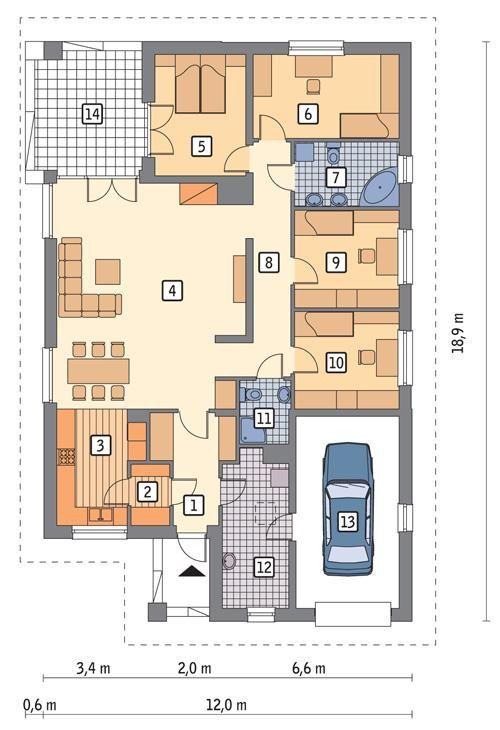 Rzut parteru POW. 159,0 m²