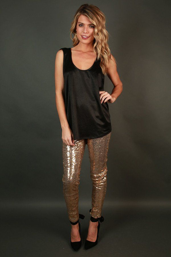 Sparks Fly High Waist Sequin Leggings in Gold