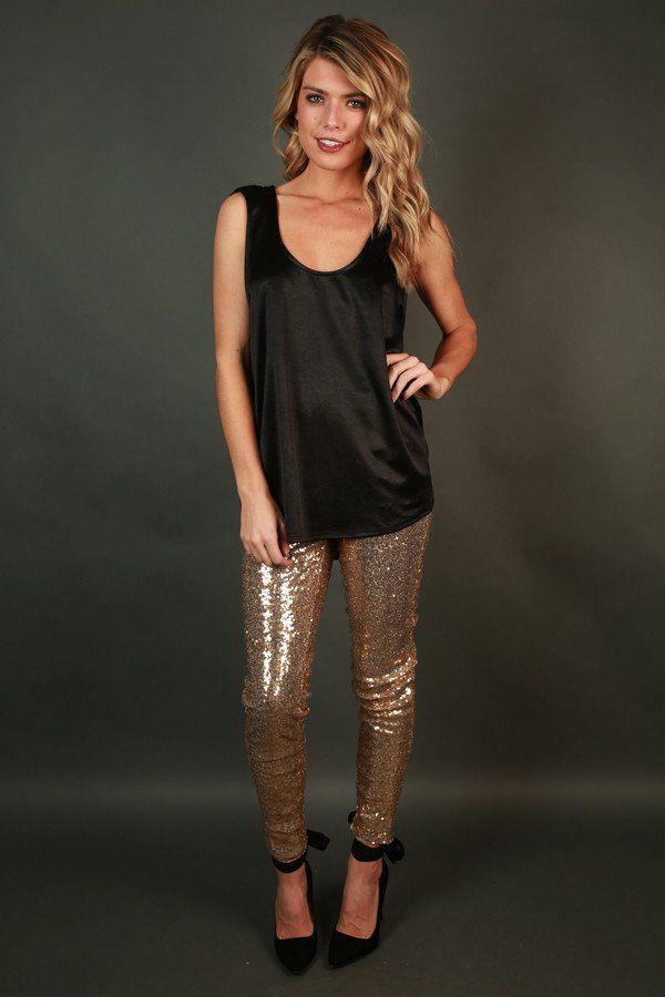 Sparks Fly High Waist Sequin Leggings in Gold