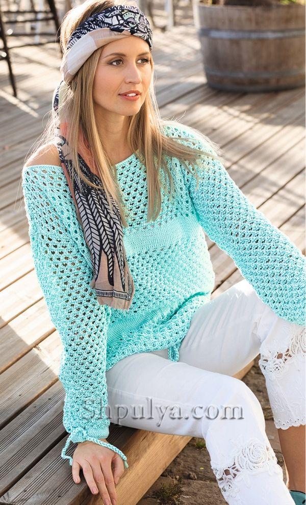 Пуловер с сочетанием ажурных узоров