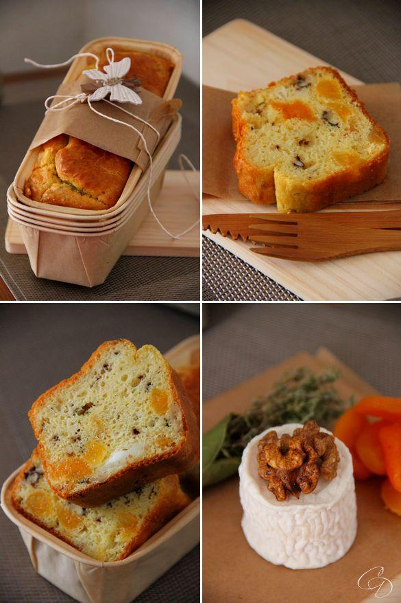 cake aux abricots, crottin de chèvre,noix et thym