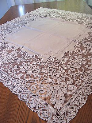 Vintage-Italian-Filet-Lace-White-Embroidered-Linen-Table-Topper-Tablecloth-10