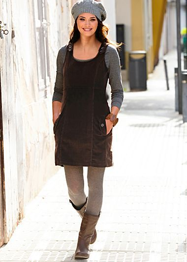Love this pinafore. Corduroy pinafore dress, leggings, boots