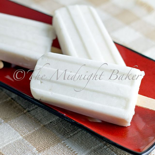 Coconut Banana Popsicles--4 ingredients (coconut milk, banana, shredded coconut, honey)