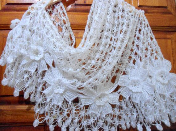 crochet shawl, fashion,gift, valentine,  winter trends, fashion, 2012, wrap flowers, autumn, wedding, White, bride