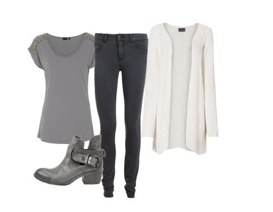 Grijs suede shirt / grijze broek / wit fluffy vest - Casual Outfits - stylefruits.nl