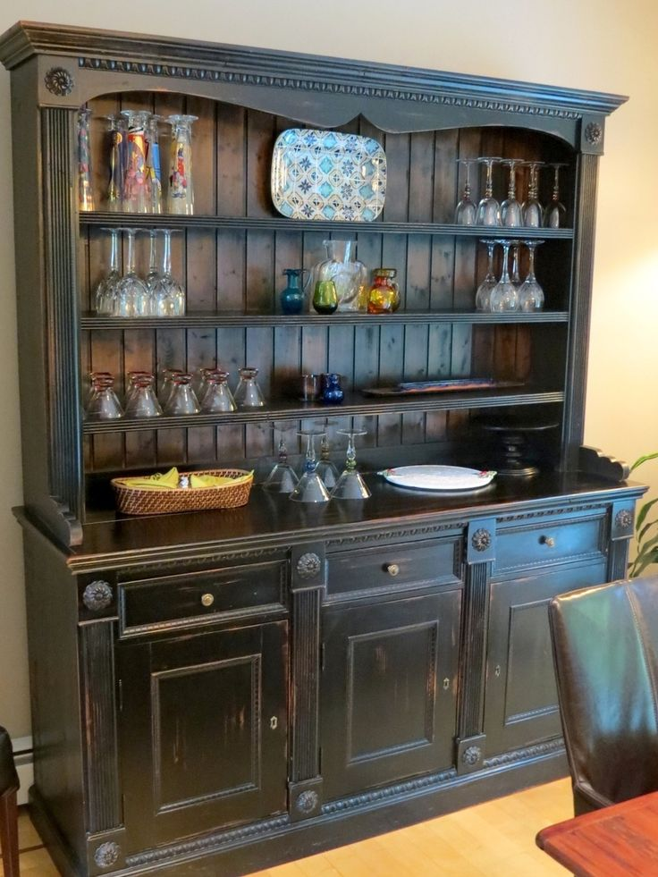 Kitchen Design   Ideas And Picture   Kitchen Furniture : Black Rustic  Distressed Color China Cabinet Hutch Wide Buffet