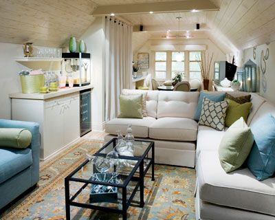 LOVE this attic remodel by Candice Olson: Idea, Living Rooms, Color, Livingroom, Bonus Room, Attic Room, Small Spaces