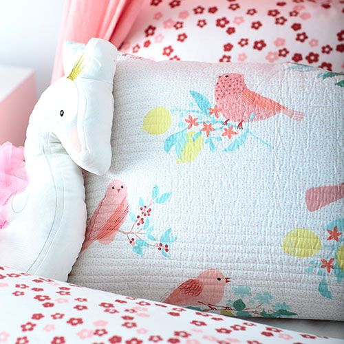 Birdy Quilted Pink Quilt Cover Set